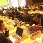Delegasi Indonesia menyampaikan intervensi pada hari pertama sidang Trade Policy Review ke-13 terhadap Jepang, 8 Maret 2017.